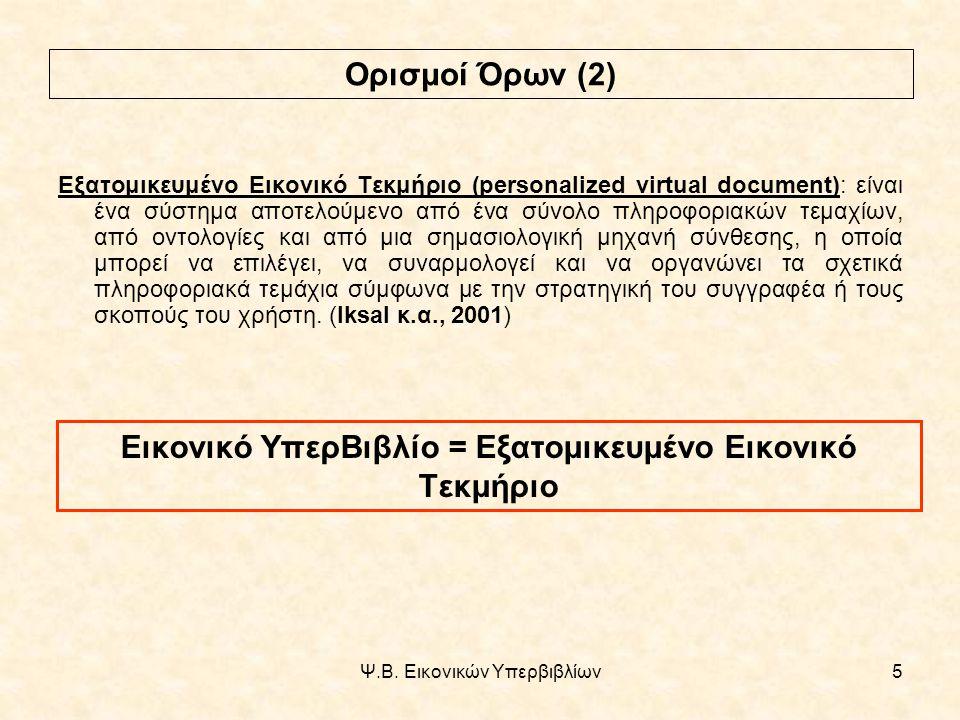 Ψ.Β. Εικονικών Υπερβιβλίων26 Υλοποίηση μοντέλου εικονικών υπερβιβλίων (2)