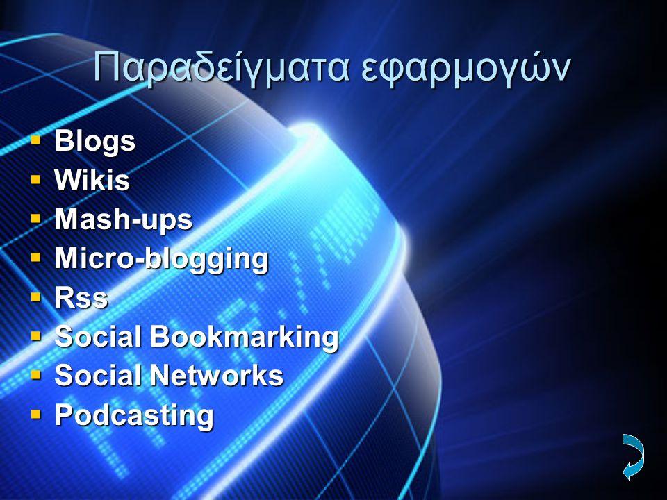 Παραδείγματα εφαρμογών  Blogs  Wikis  Mash-ups  Micro-blogging  Rss  Social Bookmarking  Social Networks  Podcasting