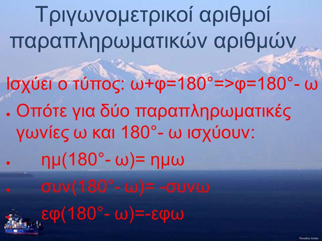 Τριγωνομετρικοί αριθμοί παραπληρωματικών αριθμών Παραπληρωματικές ονομάζονται οι γωνίες οι οποίες έχουν άθροισμα 180°. Οι παραπληρωματικές γωνίες έχου
