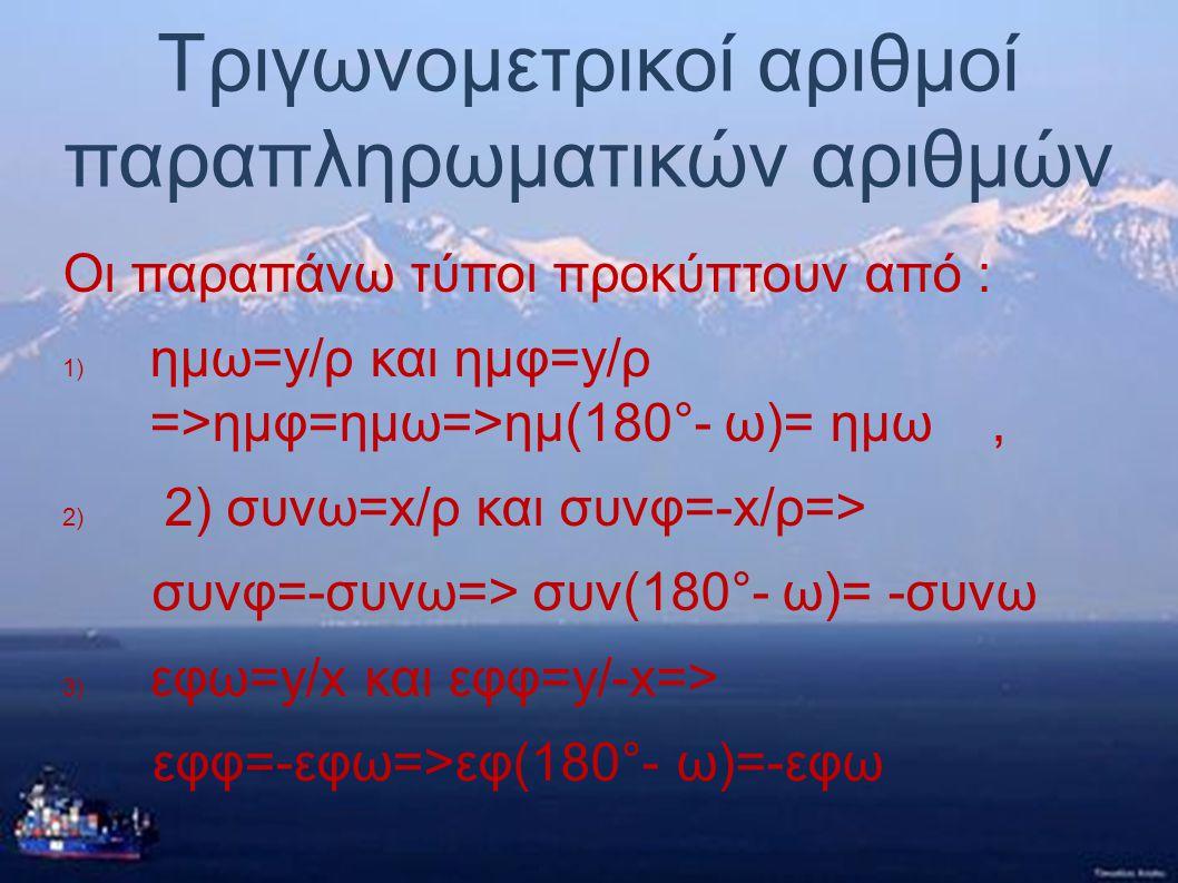Τριγωνομετρικοί αριθμοί παραπληρωματικών αριθμών Ισχύει ο τύπος: ω+φ=180°=>φ=180°- ω ● Οπότε για δύο παραπληρωματικές γωνίες ω και 180°- ω ισχύουν: ●