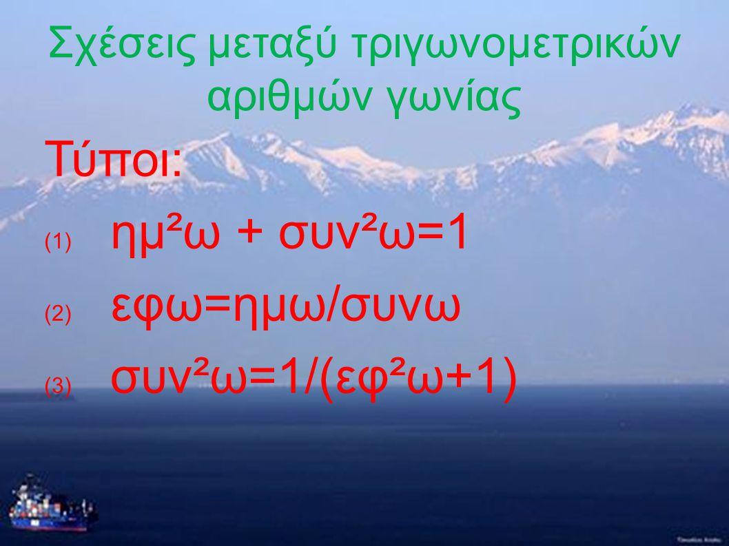 Τριγωνομετρικοί αριθμοί παραπληρωματικών αριθμών Οι παραπάνω τύποι προκύπτουν από : 1) ημω=y/ρ και ημφ=y/ρ =>ημφ=ημω=>ημ(180°- ω)= ημω, 2) 2) συνω=x/ρ