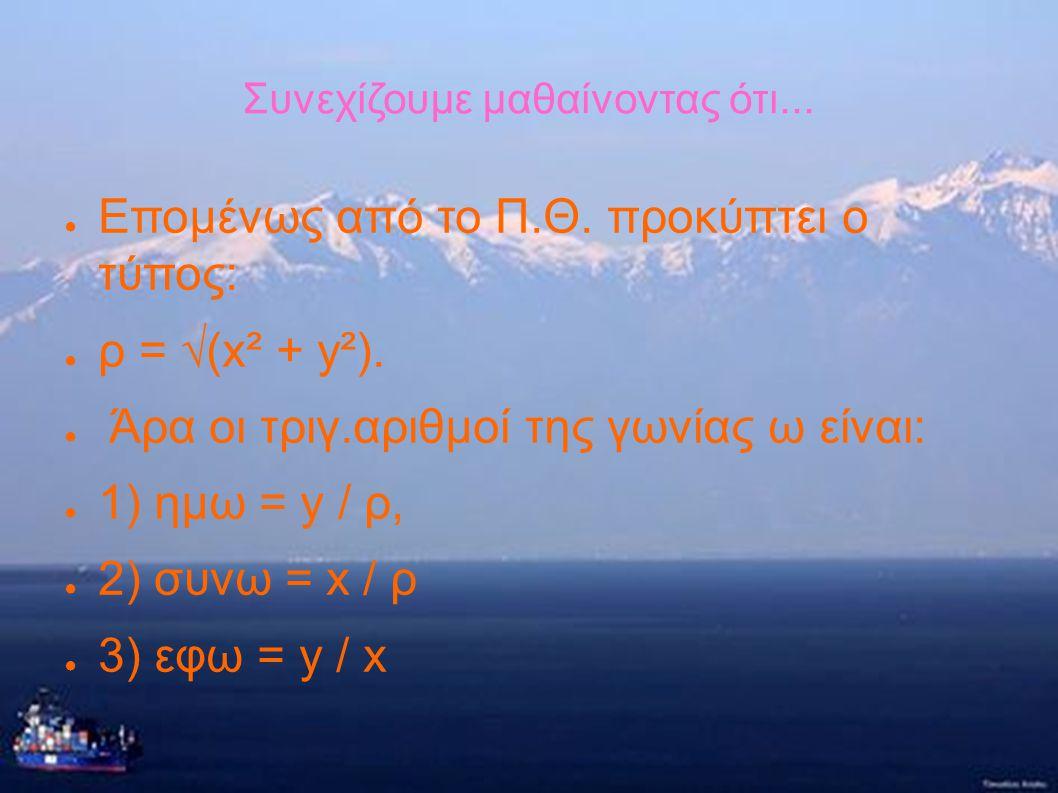 Συνεχίζουμε μαθαίνοντας ότι... ● Αν χρησιμοποιήσουμε ένα ορθοκανονικό σύστημα αξόνων μπορούμε να βρούμε τους τριγωνομετρικούς αριθμούς μιας γωνίας ω κ