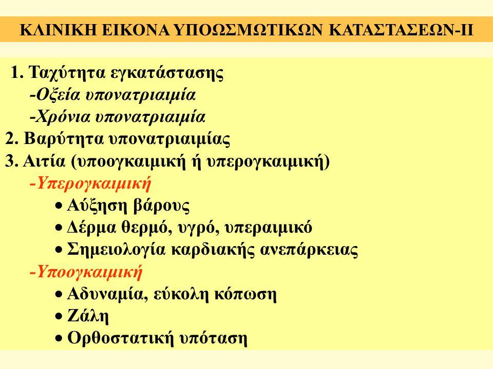 1. Ταχύτητα εγκατάστασης -Οξεία υπονατριαιμία -Χρόνια υπονατριαιμία 2. Βαρύτητα υπονατριαιμίας 3. Αιτία (υπoογκαιμική ή υπερογκαιμική) -Υπερογκαιμική