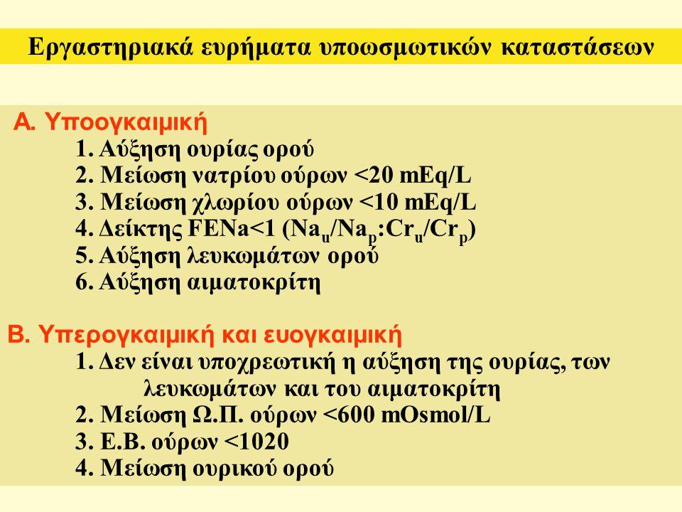 Α. Υποογκαιμική 1. Αύξηση ουρίας ορού 2. Μείωση νατρίου ούρων <20 mEq/L 3. Μείωση χλωρίου ούρων <10 mEq/L 4. Δείκτης FENa<1 (Na u /Na p :Cr u /Cr p )