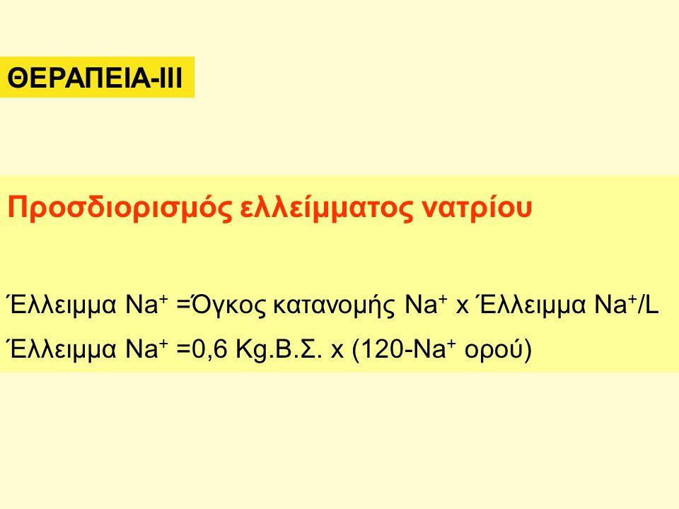 ΘΕΡΑΠΕΙΑ-IΙΙ Προσδιορισμός ελλείμματος νατρίου Έλλειμμα Na + =Όγκος κατανομής Na + x Έλλειμμα Na + /L Έλλειμμα Na + =0,6 Kg.Β.Σ. x (120-Na + ορού)