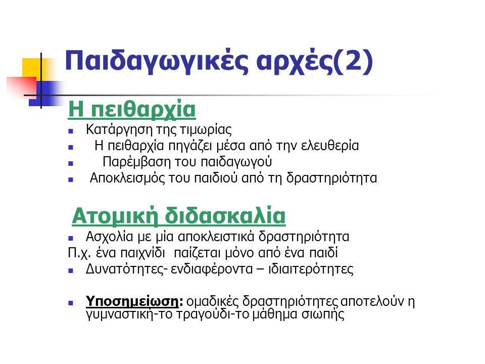 Παιδαγωγικές αρχές (3) Η περιορισμένη δράση του παιδαγωγού Διακριτικός παρατηρητής του παιδιού Βοηθός π.χ.