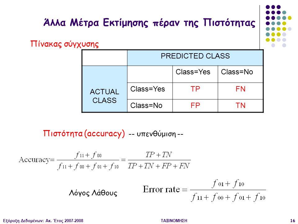 Εξόρυξη Δεδομένων: Ακ. Έτος 2007-2008ΤΑΞΙΝΟΜΗΣΗ16 PREDICTED CLASS ACTUAL CLASS Class=YesClass=No Class=YesTPFN Class=NoFPTN Πιστότητα (accuracy) -- υπ