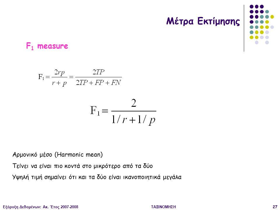 Εξόρυξη Δεδομένων: Ακ. Έτος 2007-2008ΤΑΞΙΝΟΜΗΣΗ27 Μέτρα Εκτίμησης F 1 measure Αρμονικό μέσο (Harmonic mean) Τείνει να είναι πιο κοντά στο μικρότερο απ