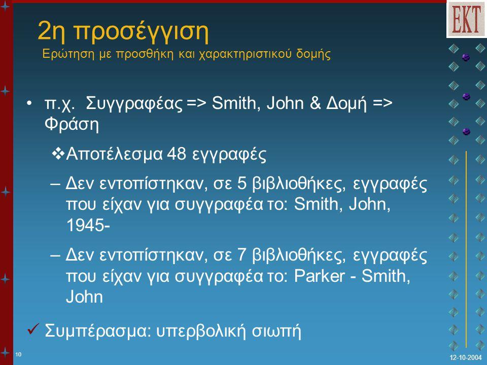10 12-10-2004 2η προσέγγιση Ερώτηση με προσθήκη και χαρακτηριστικού δομής π.χ. Συγγραφέας => Smith, John & Δομή => Φράση  Αποτέλεσμα 48 εγγραφές –Δεν