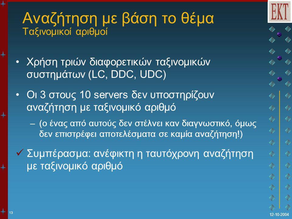13 12-10-2004 Αναζήτηση με βάση το θέμα Ταξινομικοί αριθμοί Χρήση τριών διαφορετικών ταξινομικών συστημάτων (LC, DDC, UDC) Οι 3 στους 10 servers δεν υποστηρίζουν αναζήτηση με ταξινομικό αριθμό –(ο ένας από αυτούς δεν στέλνει καν διαγνωστικό, όμως δεν επιστρέφει αποτελέσματα σε καμία αναζήτηση!) Συμπέρασμα: ανέφικτη η ταυτόχρονη αναζήτηση με ταξινομικό αριθμό