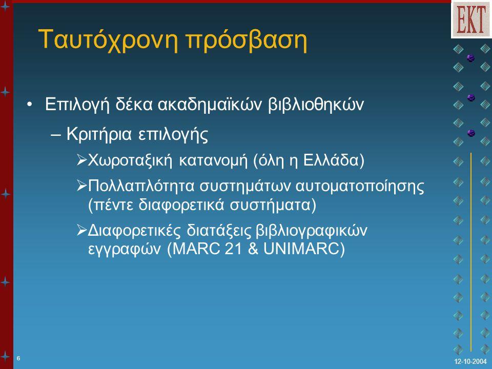 6 12-10-2004 Ταυτόχρονη πρόσβαση Επιλογή δέκα ακαδημαϊκών βιβλιοθηκών –Κριτήρια επιλογής  Χωροταξική κατανομή (όλη η Ελλάδα)  Πολλαπλότητα συστημάτω
