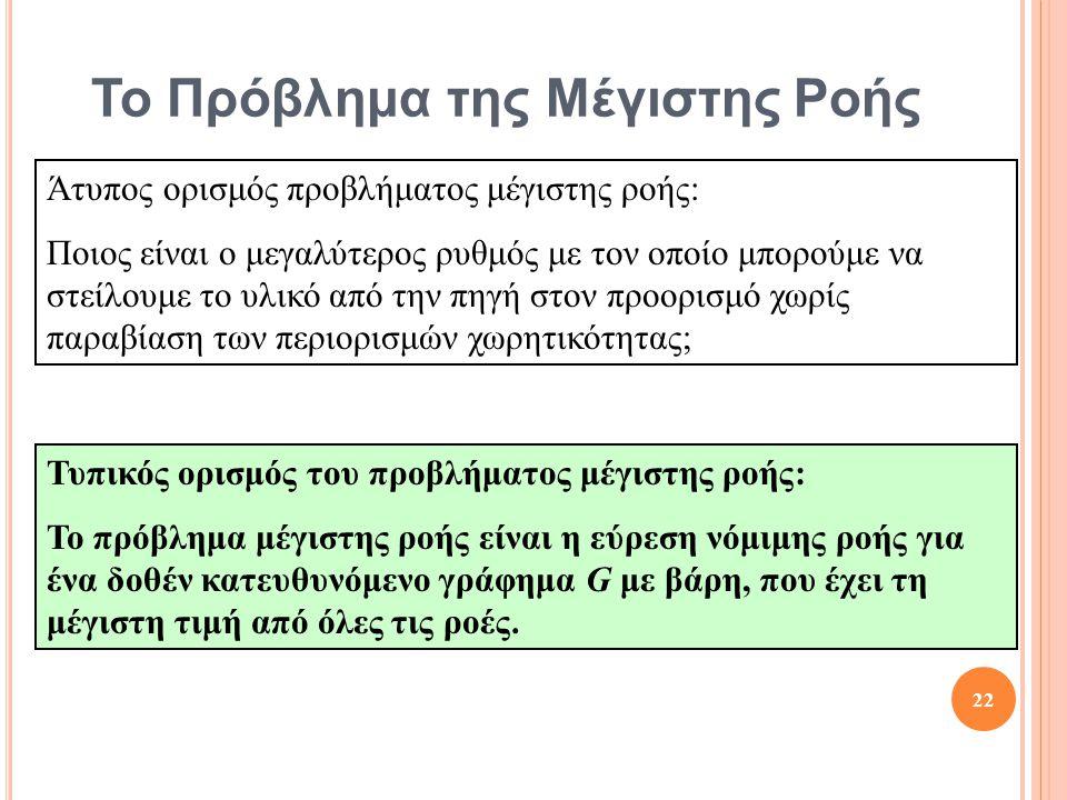 Το Πρόβλημα της Μέγιστης Ροής Άτυπος ορισμός προβλήματος μέγιστης ροής: Ποιος είναι ο μεγαλύτερος ρυθμός με τον οποίο μπορούμε να στείλουμε το υλικό από την πηγή στον προορισμό χωρίς παραβίαση των περιορισμών χωρητικότητας; Τυπικός ορισμός του προβλήματος μέγιστης ροής: Το πρόβλημα μέγιστης ροής είναι η εύρεση νόμιμης ροής για ένα δοθέν κατευθυνόμενο γράφημα G με βάρη, που έχει τη μέγιστη τιμή από όλες τις ροές.