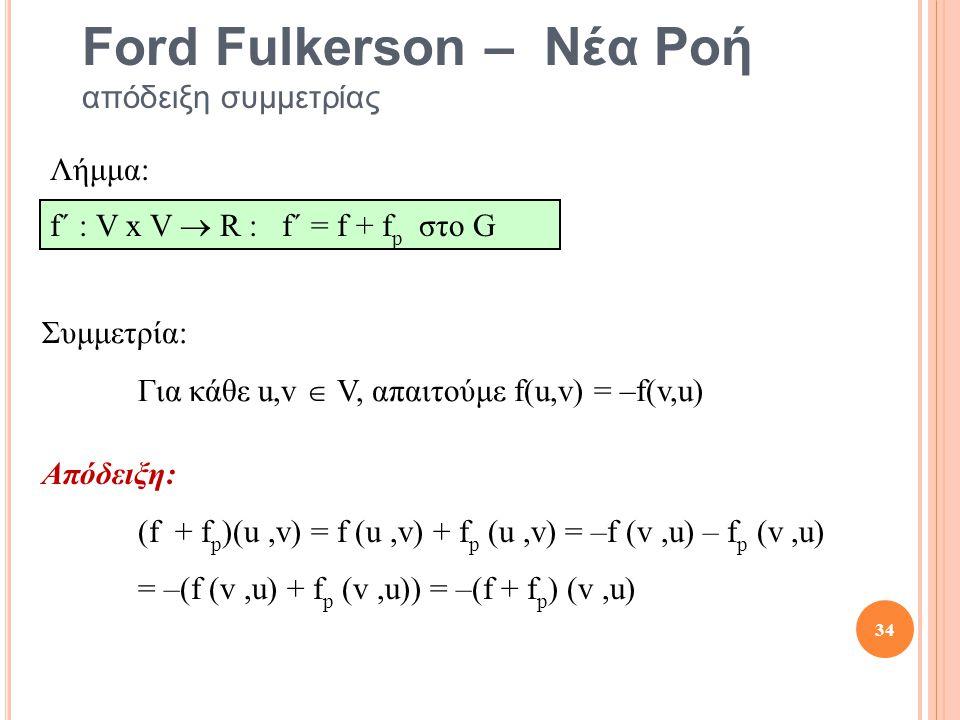 Ford Fulkerson – Νέα Ροή απόδειξη συμμετρίας Απόδειξη: (f + f p )(u,v) = f (u,v) + f p (u,v) = –f (v,u) – f p (v,u) = –(f (v,u) + f p (v,u)) = –(f + f p ) (v,u) Συμμετρία: Για κάθε u,v  V, απαιτούμε f(u,v) = –f(v,u) Λήμμα: f´ : V x V  R : f´ = f + f p στο G 34