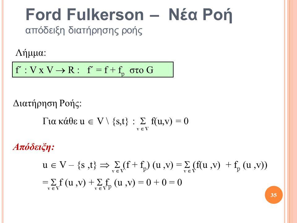Ford Fulkerson – Νέα Ροή απόδειξη διατήρησης ροής Απόδειξη: u  V – {s,t}   (f + f p ) (u,v) =  (f(u,v) + f p (u,v)) =  f (u,v) +  f p (u,v) = 0 + 0 = 0 Διατήρηση Ροής: Για κάθε u  V \ {s,t} :  f(u,v) = 0 v  V Λήμμα: f´ : V x V  R : f´ = f + f p στο G 35