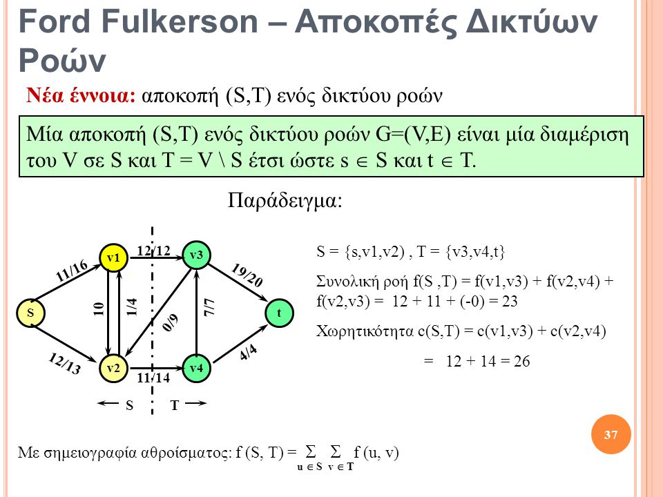 Ford Fulkerson – Αποκοπές Δικτύων Ροών Νέα έννοια: αποκοπή (S,T) ενός δικτύου ροών Μία αποκοπή (S,T) ενός δικτύου ροών G=(V,E) είναι μία διαμέριση του V σε S και T = V \ S έτσι ώστε s  S και t  T.