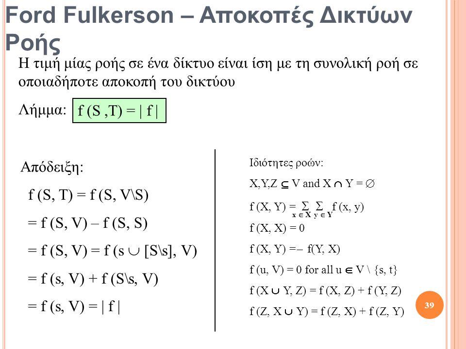 Ford Fulkerson – Αποκοπές Δικτύων Ροής Η τιμή μίας ροής σε ένα δίκτυο είναι ίση με τη συνολική ροή σε οποιαδήποτε αποκοπή του δικτύου Λήμμα: f (S,T) =