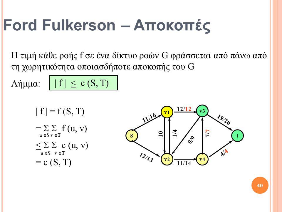 Ford Fulkerson – Αποκοπές Η τιμή κάθε ροής f σε ένα δίκτυο ροών G φράσσεται από πάνω από τη χωρητικότητα οποιασδήποτε αποκοπής του G Λήμμα: | f | < c (S, T) | f | = f (S, T) =   f (u, v) <   c (u, v) = c (S, T) v  T u  S v  T u  S St v1 v2 v3 v4 10 12/13 12/12 11/16 1/4 4/4 19/20 7/77/7 0/9 11/14 40