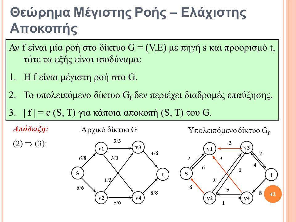 Απόδειξη: (2)  (3): S t v1 v2 v3 v4 6/8 3/3 4/6 8/8 5/6 6/6 3/3 1/3 S t v1 v2 v3 v4 2 3 2 8 1 6 3 2 5 6 1 4 Υπολειπόμενο δίκτυο G f Αρχικό δίκτυο G 42 Θεώρημα Μέγιστης Ροής – Ελάχιστης Αποκοπής Αν f είναι μία ροή στο δίκτυο G = (V,E) με πηγή s και προορισμό t, τότε τα εξής είναι ισοδύναμα: 1.Η f είναι μέγιστη ροή στο G.