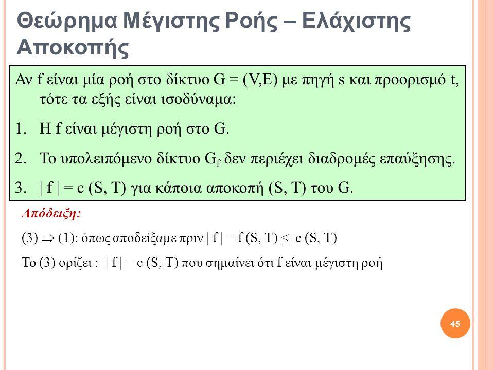 Απόδειξη: (3)  (1): όπως αποδείξαμε πριν | f | = f (S, T) < c (S, T) Το (3) ορίζει : | f | = c (S, T) που σημαίνει ότι f είναι μέγιστη ροή 45 Θεώρημα