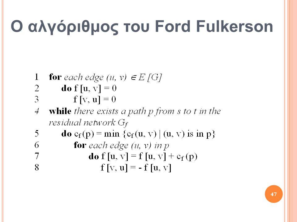 Ο αλγόριθμος του Ford Fulkerson 47