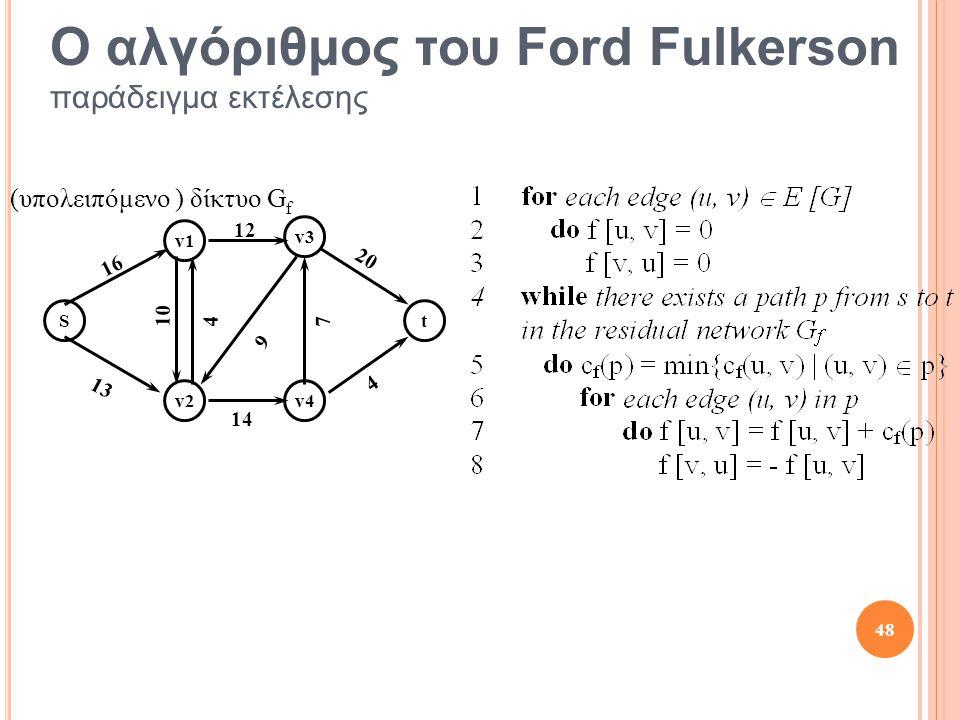Ο αλγόριθμος του Ford Fulkerson παράδειγμα εκτέλεσης St v1 v2 v3 v4 10 13 12 16 4 4 14 20 7 9 (υπολειπόμενο ) δίκτυο G f 48