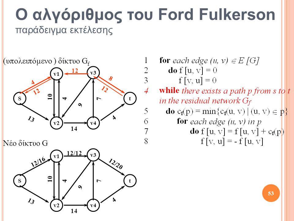 St v1 v2 v3 v4 10 13 12 4 4 4 14 8 7 9 St v1 v2 v3 v4 10 13 12/12 12/16 4 4 14 12/20 7 9 Νέο δίκτυο G 12 53 Ο αλγόριθμος του Ford Fulkerson παράδειγμα εκτέλεσης (υπολειπόμενο ) δίκτυο G f