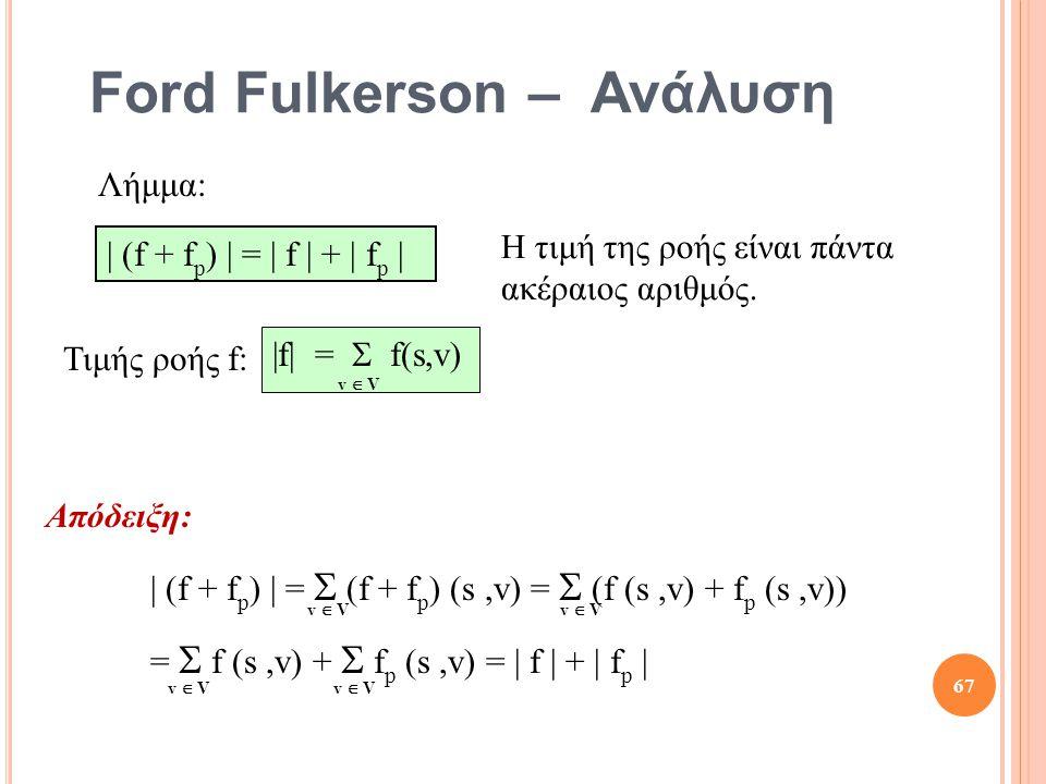 Ford Fulkerson – Ανάλυση Απόδειξη: | (f + f p ) | =  (f + f p ) (s,v) =  (f (s,v) + f p (s,v)) =  f (s,v) +  f p (s,v) = | f | + | f p | Λήμμα: | (f + f p ) | = | f | + | f p | v  V Τιμής ροής f: |f| =  f(s,v) v  V 67 Η τιμή της ροής είναι πάντα ακέραιος αριθμός.