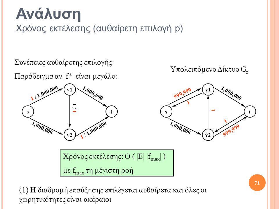 t v2 v1 s 1 / 1,000,000 1,000,000 1 / 1,000,000 1 / 1 t v2 v1 s 999,999 1,000,000 999,999 1 Υπολειπόμενο Δίκτυο G f 1 1 71 Χρόνος εκτέλεσης: O ( |E| |f max | ) με f max τη μέγιστη ροή Ανάλυση Χρόνος εκτέλεσης (αυθαίρετη επιλογή p) Συνέπειες αυθαίρετης επιλογής: Παράδειγμα αν |f*| είναι μεγάλο: (1) Η διαδρομή επαύξησης επιλέγεται αυθαίρετα και όλες οι χωρητικότητες είναι ακέραιοι