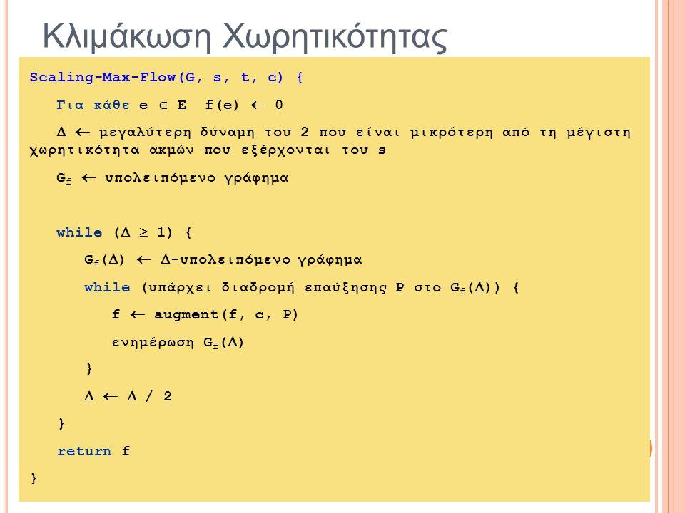 Κλιμάκωση Χωρητικότητας Scaling-Max-Flow(G, s, t, c) { Για κάθε e  E f(e)  0   μεγαλύτερη δύναμη του 2 που είναι μικρότερη από τη μέγιστη χωρητικότητα ακμών που εξέρχονται του s G f  υπολειπόμενο γράφημα while (   1) { G f (  )   -υπολειπόμενο γράφημα while (υπάρχει διαδρομή επαύξησης P στο G f (  )) { f  augment(f, c, P) ενημέρωση G f (  ) }    / 2 } return f }
