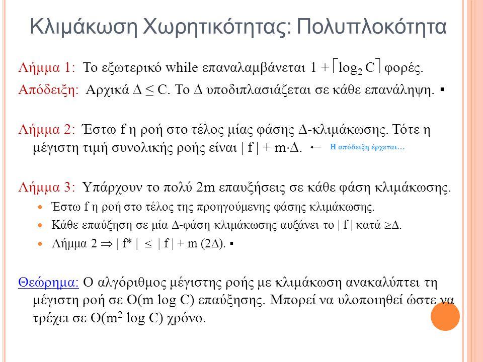 Κλιμάκωση Χωρητικότητας: Πολυπλοκότητα Λήμμα 1: Το εξωτερικό while επαναλαμβάνεται 1 +  log 2 C  φορές. Απόδειξη: Αρχικά  ≤ C. Το  υποδιπλασιάζετα