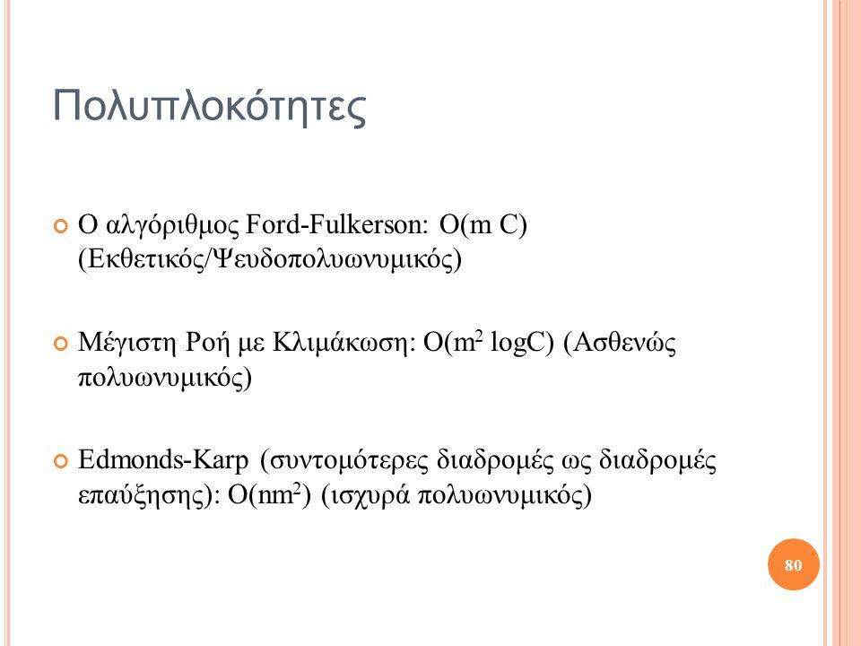Πολυπλοκότητες Ο αλγόριθμος Ford-Fulkerson: Ο(m C) (Εκθετικός/Ψευδοπολυωνυμικός) Μέγιστη Ροή με Κλιμάκωση: Ο(m 2 logC) (Ασθενώς πολυωνυμικός) Edmonds-