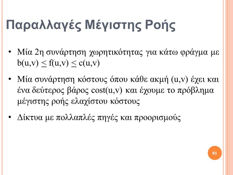 Παραλλαγές Μέγιστης Ροής Μία 2η συνάρτηση χωρητικότητας για κάτω φράγμα με b(u,v) < f(u,v) < c(u,v) Μία συνάρτηση κόστους όπου κάθε ακμή (u,v) έχει και ένα δεύτερος βάρος cost(u,v) και έχουμε το πρόβλημα μέγιστης ροής ελαχίστου κόστους Δίκτυα με πολλαπλές πηγές και προορισμούς 81