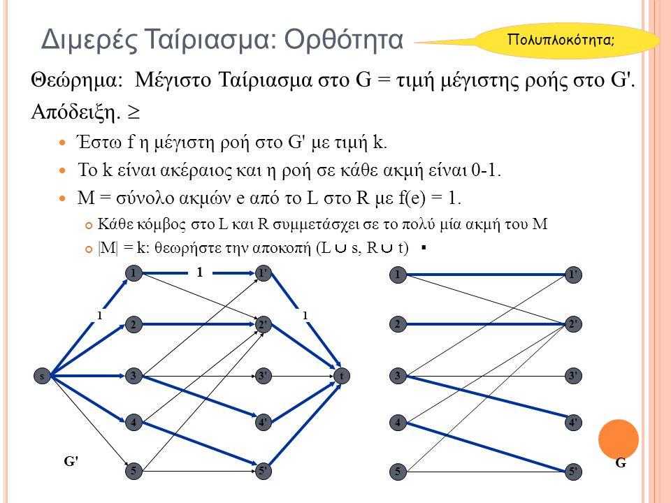Θεώρημα: Μέγιστο Ταίριασμα στο G = τιμή μέγιστης ροής στο G'. Απόδειξη.  Έστω f η μέγιστη ροή στο G' με τιμή k. Το k είναι ακέραιος και η ροή σε κάθε