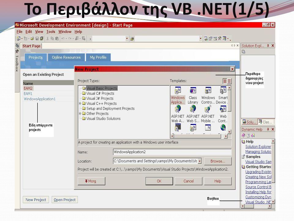 Σύνταξη στην VB.NET(3/3) Σύνταξη : Private Sub Button1_Click(ByVal sender As System.Object, _ ByVal e As System.EventArgs) _ Handles Button1.Click ΠΡΟΣΘΕΤΟΣ ΚΩΔΙΚΑΣ End Sub  Ο underscore character μας βοηθά να αλλάζουμε γραμμή συνεχίζονταςτο κώδικά μας.