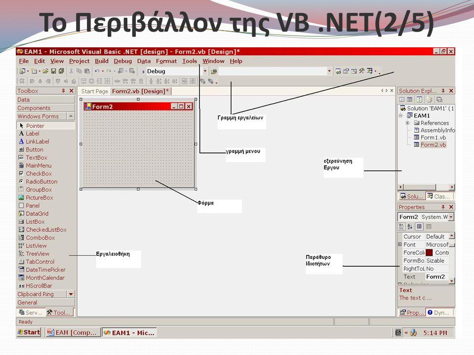 Το Περιβάλλον της VB.NET(2/5)