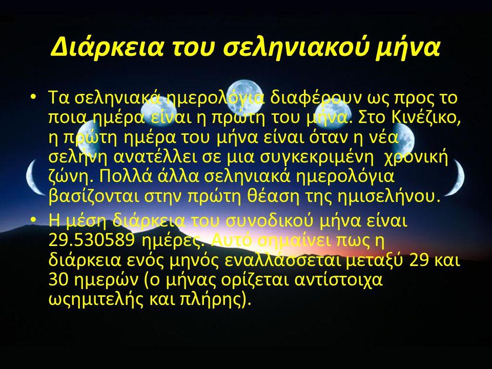 Διάρκεια του σεληνιακού μήνα Τα σεληνιακά ημερολόγια διαφέρουν ως προς το ποια ημέρα είναι η πρώτη του μήνα.