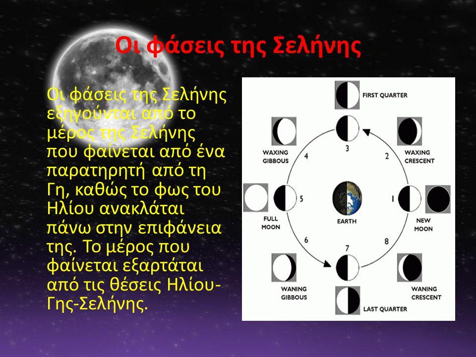Οι φάσεις της Σελήνης Οι φάσεις της Σελήνης εξηγούνται από το μέρος της Σελήνης που φαίνεται από ένα παρατηρητή από τη Γη, καθώς το φως του Ηλίου ανακλάται πάνω στην επιφάνεια της.