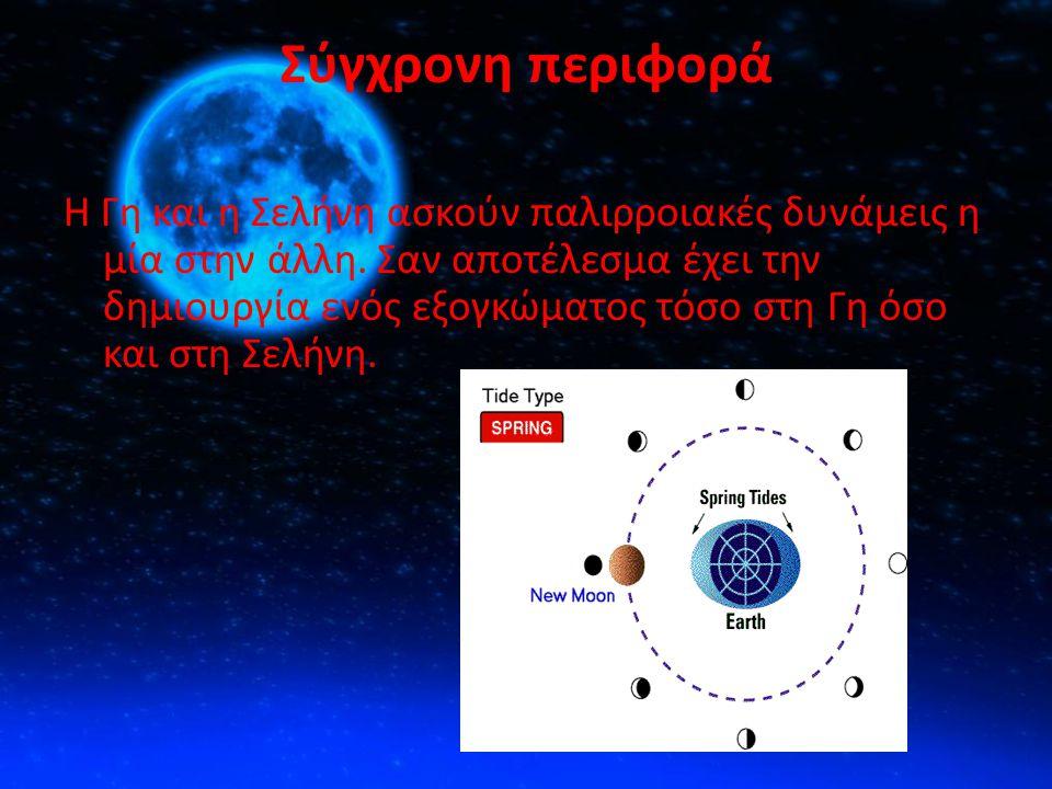 Σύγχρονη περιφορά Η Γη και η Σελήνη ασκούν παλιρροιακές δυνάμεις η μία στην άλλη. Σαν αποτέλεσμα έχει την δημιουργία ενός εξογκώματος τόσο στη Γη όσο