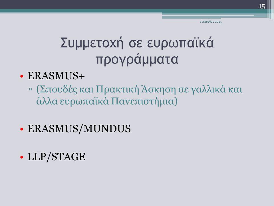 Συμμετοχή σε ευρωπαϊκά προγράμματα ERASMUS+ ▫(Σπουδές και Πρακτική Άσκηση σε γαλλικά και άλλα ευρωπαϊκά Πανεπιστήμια) ERASMUS/MUNDUS LLP/STAGE 15 1 Απ