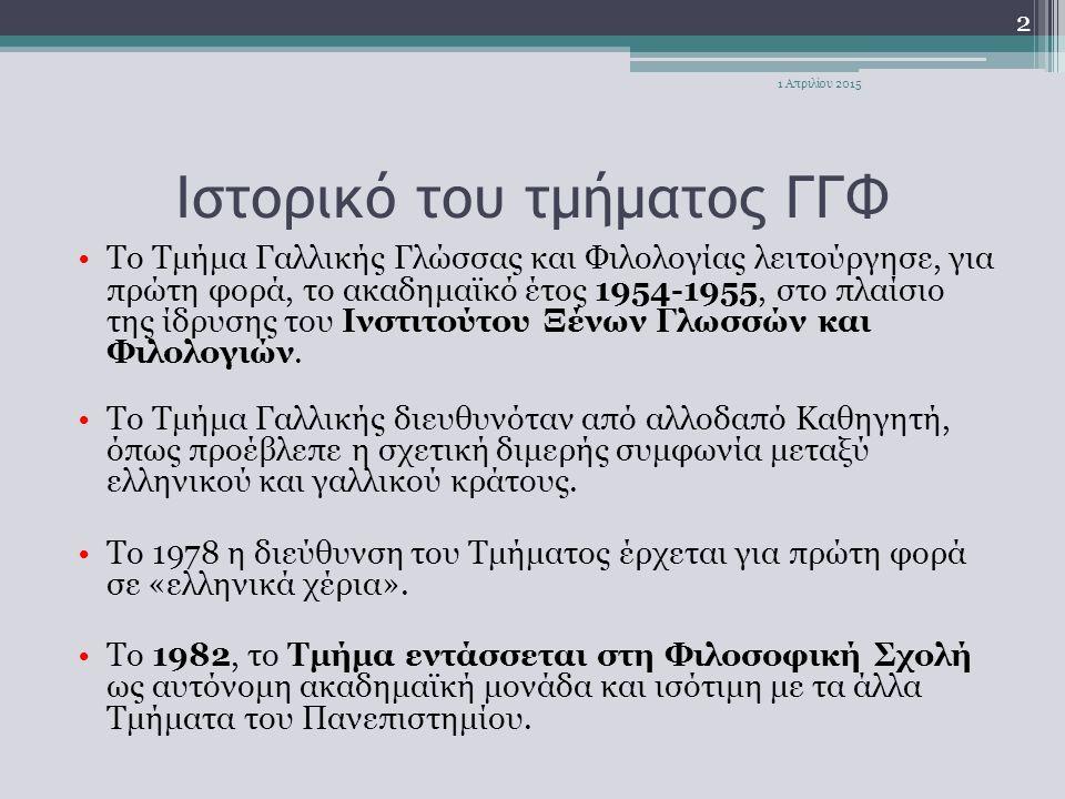 Ιστορικό του τμήματος ΓΓΦ Tο Τμήμα Γαλλικής Γλώσσας και Φιλολογίας λειτούργησε, για πρώτη φορά, το ακαδημαϊκό έτος 1954-1955, στο πλαίσιο της ίδρυσης