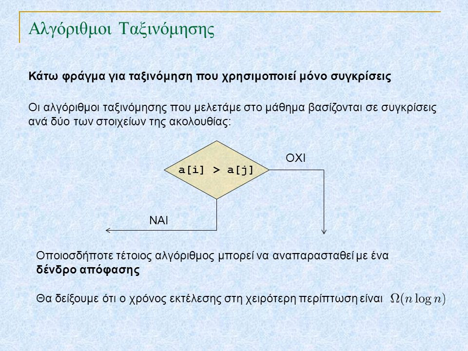TexPoint fonts used in EMF. Read the TexPoint manual before you delete this box.: AA A AA A A Αλγόριθμοι Ταξινόμησης Κάτω φράγμα για ταξινόμηση που χρ