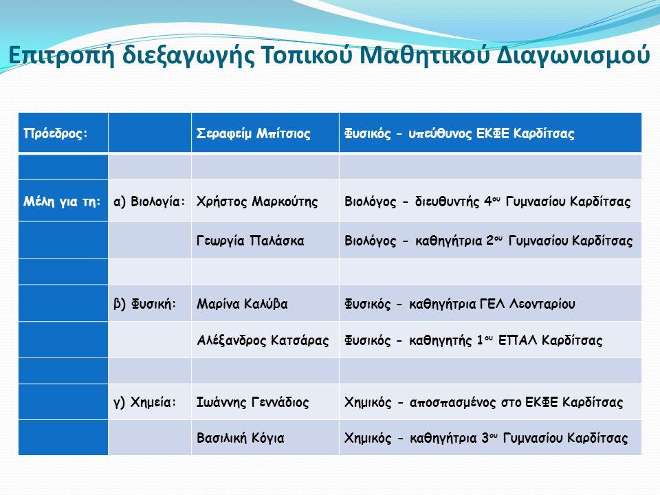 Επιτροπή διεξαγωγής Τοπικού Μαθητικού Διαγωνισμού Πρόεδρος: Σεραφείμ ΜπίτσιοςΦυσικός - υπεύθυνος ΕΚΦΕ Καρδίτσας Μέλη για τη:α) Βιολογία:Χρήστος ΜαρκούτηςΒιολόγος - διευθυντής 4 ου Γυμνασίου Καρδίτσας Γεωργία ΠαλάσκαΒιολόγος - καθηγήτρια 2 ου Γυμνασίου Καρδίτσας β) Φυσική:Μαρίνα ΚαλύβαΦυσικός - καθηγήτρια ΓΕΛ Λεονταρίου Αλέξανδρος ΚατσάραςΦυσικός - καθηγητής 1 ου ΕΠΑΛ Καρδίτσας γ) Χημεία:Ιωάννης ΓεννάδιοςΧημικός - αποσπασμένος στο ΕΚΦΕ Καρδίτσας Βασιλική ΚόγιαΧημικός - καθηγήτρια 3 ου Γυμνασίου Καρδίτσας