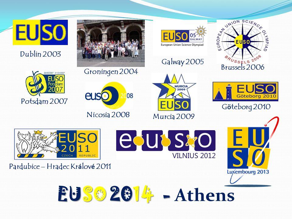 Dublin 2003 Groningen 2004 Galway 2005 Brussels 2006 Potsdam 2007 Nicosia 2008 Murcia 2009 G ö teborg 2010 Pardubice – Hradec Kr á lov é 2011 EUSO 2014 - EUSO 2014 - Athens