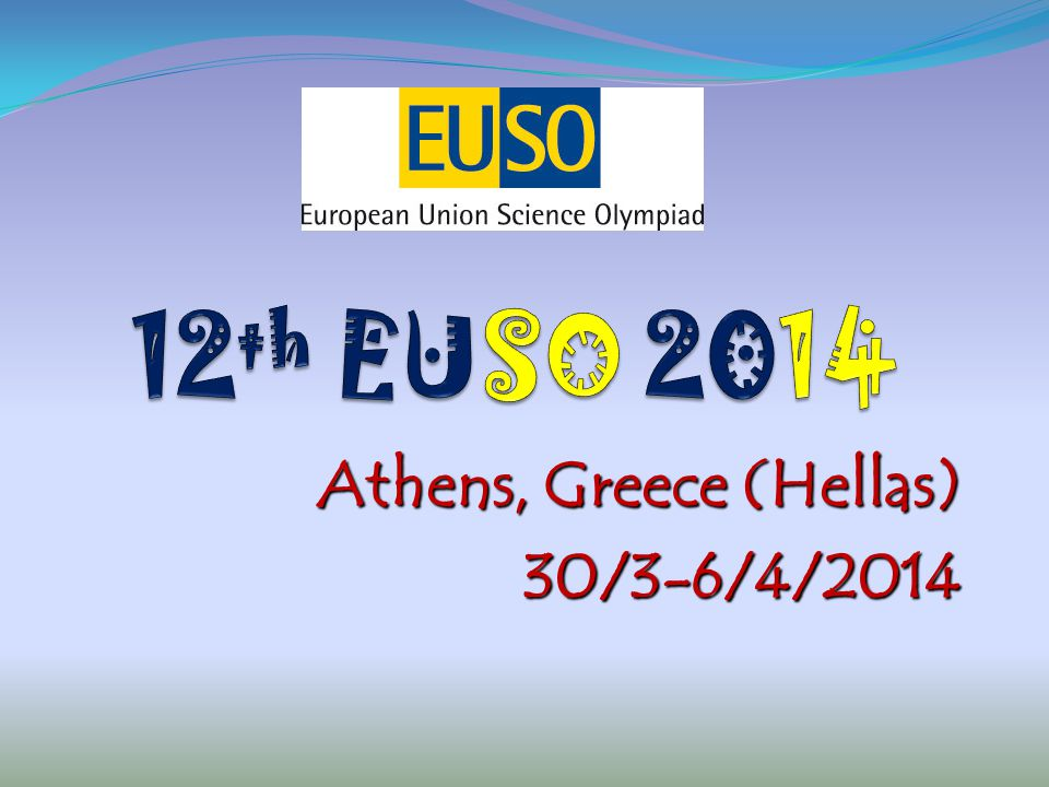 EUSO 2014 – Organizing committee The Association of the Laboratory Centers of Science (PANEKFE - www.ekfe.gr) The Association of the Laboratory Centers of Science (PANEKFE - www.ekfe.gr) Eugenides Foundation Eugenides Foundation(www.eugenfound.edu.gr) National Technical University of Athens – National Technical University of Athens – School of Chemical Engineering (www.chemeng.ntua.gr)