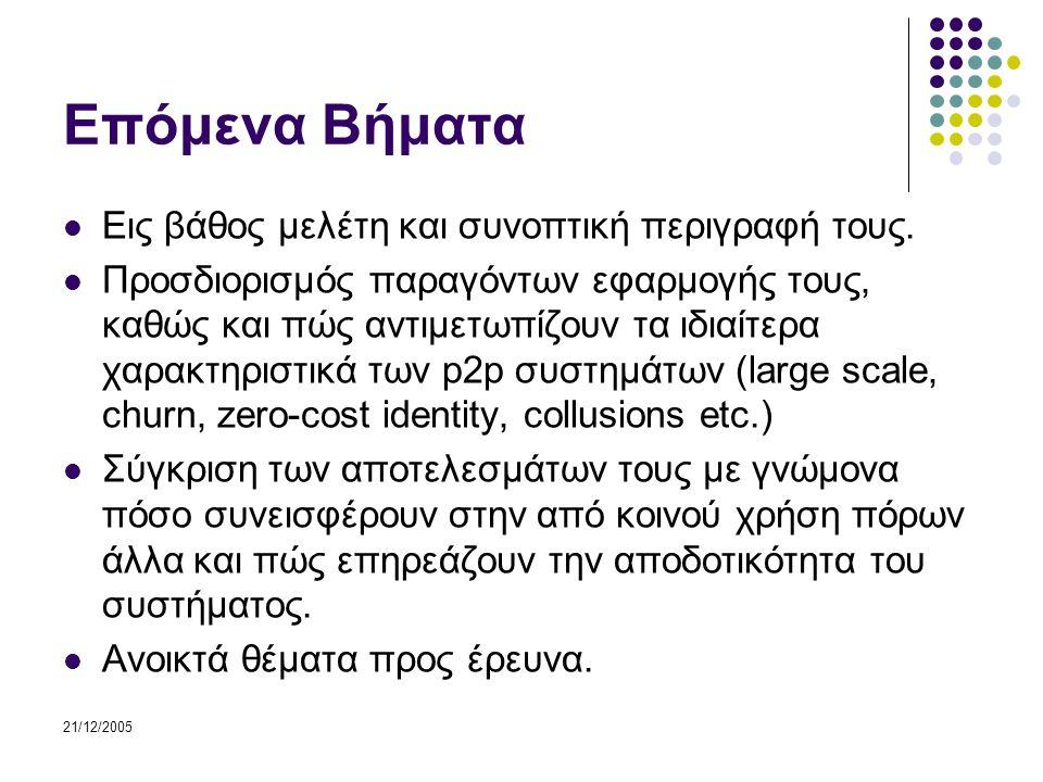 21/12/2005 Επόμενα Βήματα Εις βάθος μελέτη και συνοπτική περιγραφή τους.