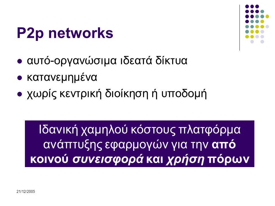 21/12/2005 P2p networks αυτό-οργανώσιμα ιδεατά δίκτυα κατανεμημένα χωρίς κεντρική διοίκηση ή υποδομή Ιδανική χαμηλού κόστους πλατφόρμα ανάπτυξης εφαρμογών για την από κοινού συνεισφορά και χρήση πόρων