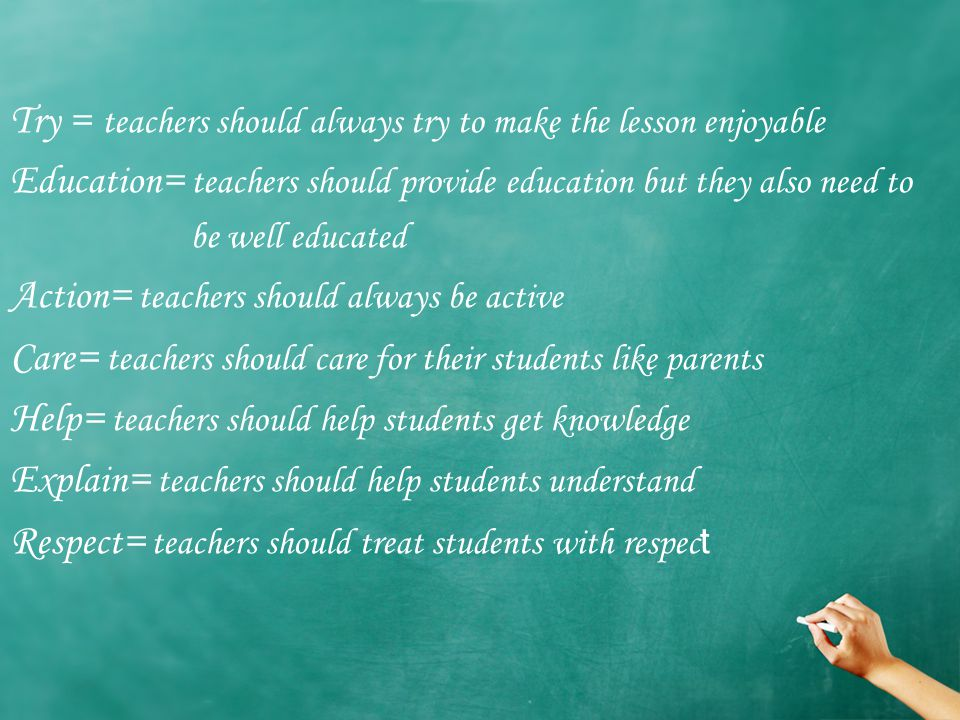T ry = teachers should always try to make the lesson enjoyable E ducation = teachers should provide education but they also need to be well educated A ction = teachers should always be active C are = teachers should care for their students like parents H elp = teachers should help students get knowledge E xplain = teachers should help students understand R espect = teachers should treat students with respec t