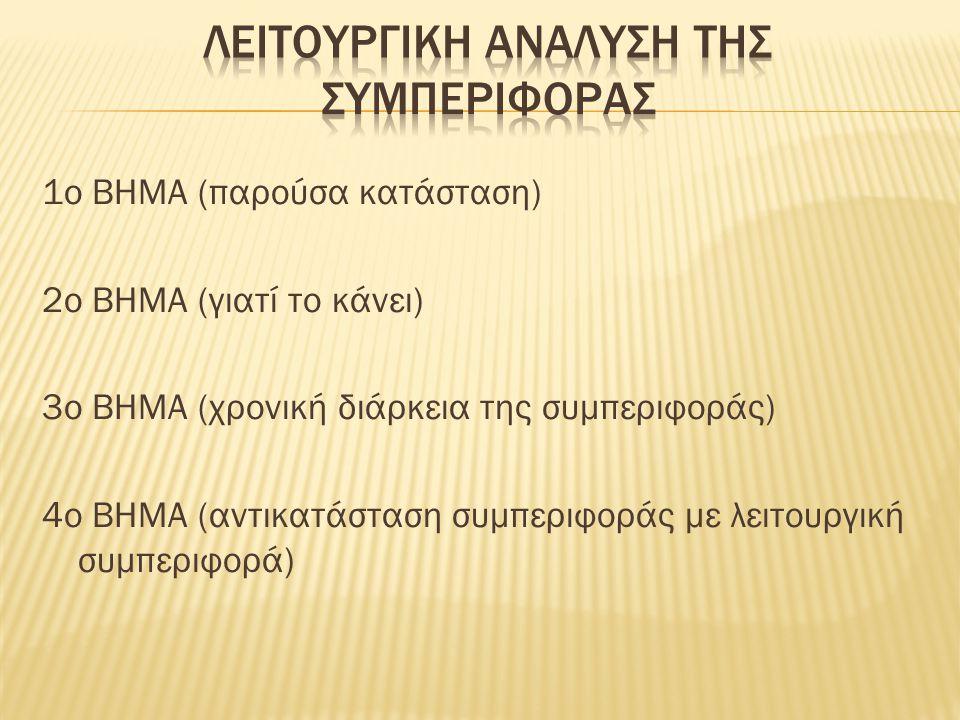 1ο ΒΗΜΑ (παρούσα κατάσταση) 2ο ΒΗΜΑ (γιατί το κάνει) 3ο ΒΗΜΑ (χρονική διάρκεια της συμπεριφοράς) 4ο ΒΗΜΑ (αντικατάσταση συμπεριφοράς με λειτουργική συ