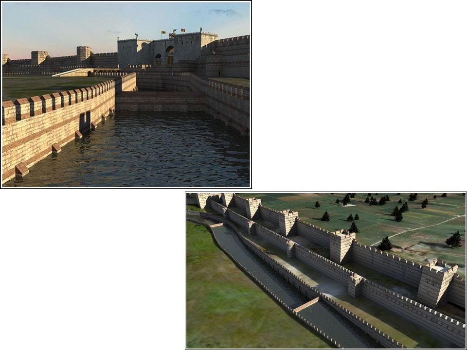 4 Τμήμα των τειχών της Κωνσταντινούπολης από το μέρος της στεριάς, όπως είναι σήμερα.