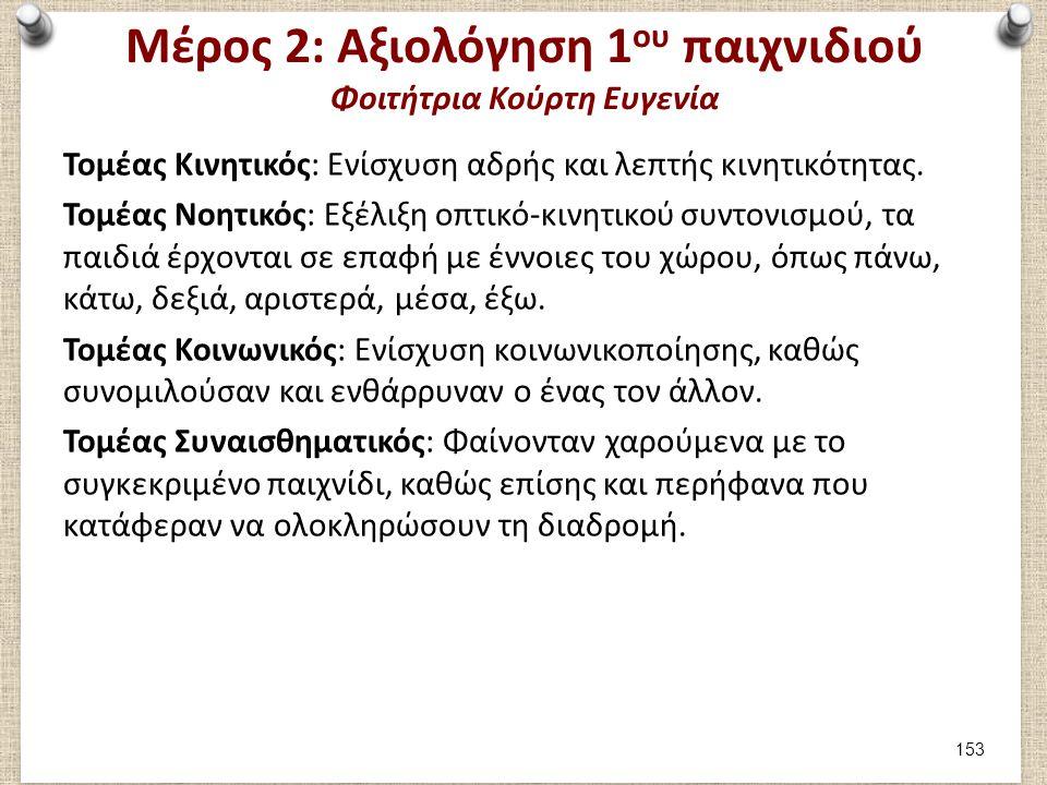 Μέρος 2: Αξιολόγηση 1 ου παιχνιδιού Φοιτήτρια Κούρτη Ευγενία Τομέας Κινητικός: Ενίσχυση αδρής και λεπτής κινητικότητας. Τομέας Νοητικός: Εξέλιξη οπτικ